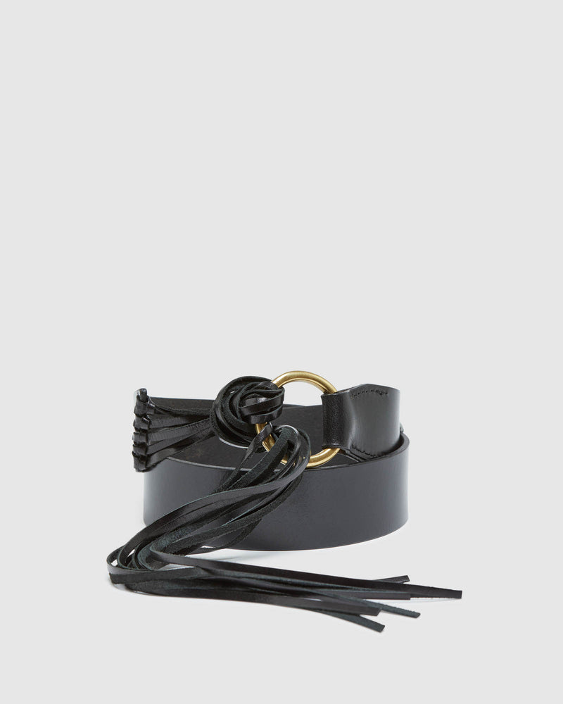 MIKA LEATHER FRINGE BELT BLACK