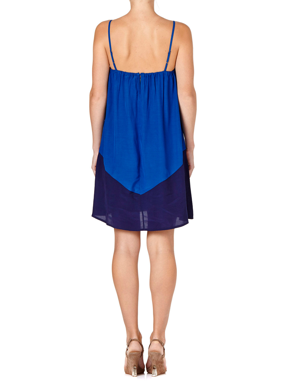 COLOUR BLOCK DRESS BLUE