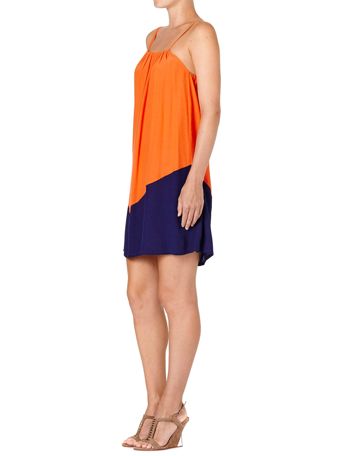 COLOUR BLOCK DRESS BLUE ORANGE