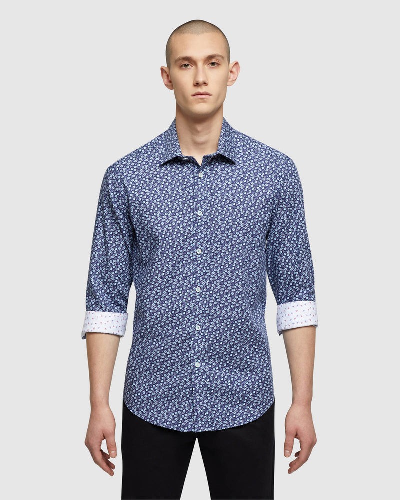 KENTON FLORAL PRINTED LUXURY SHIRT NAVY