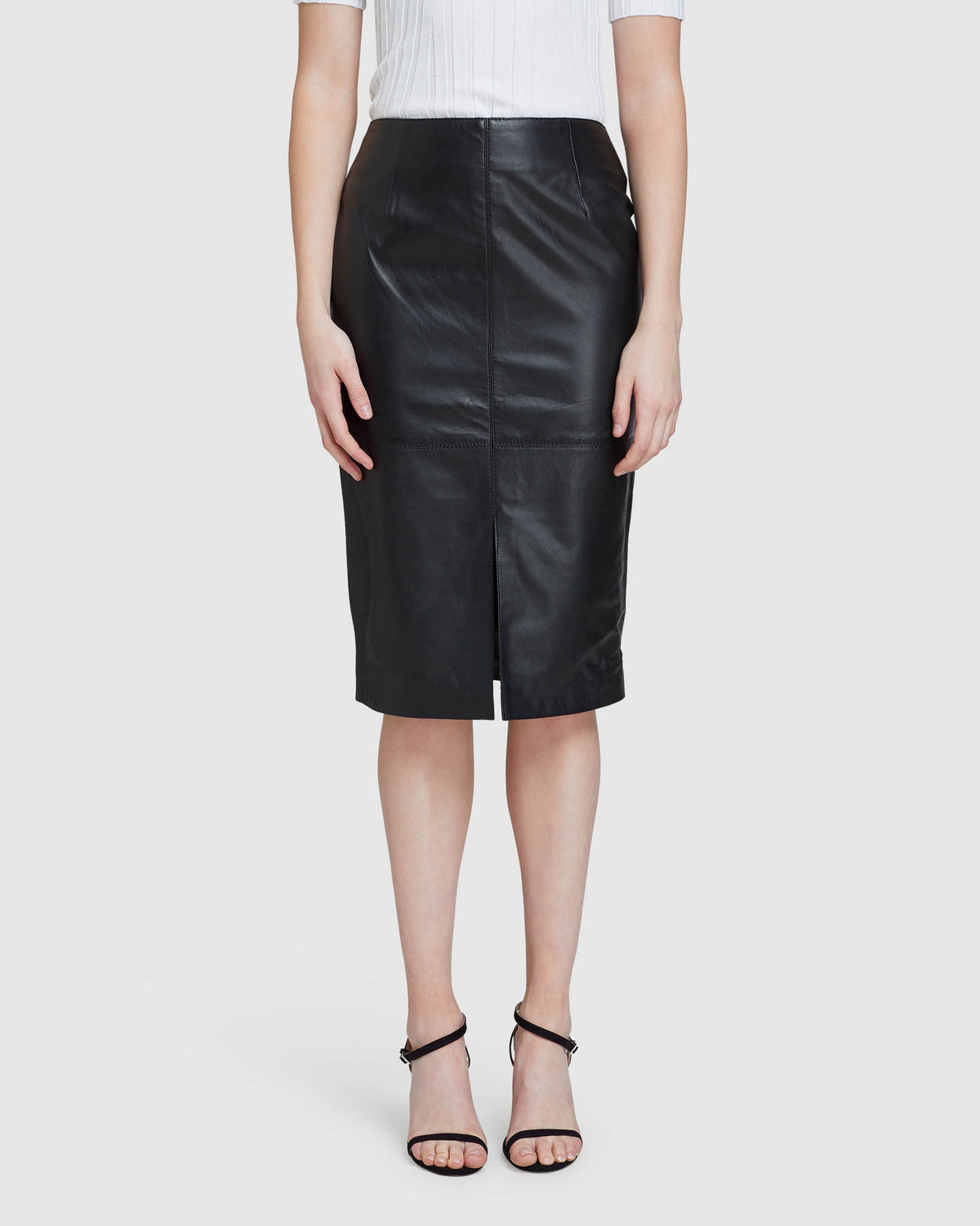 DARBY LEATHER PENCIL SKIRT BLACK