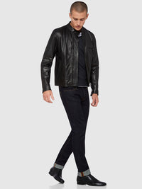 DYLAN LEATHER JACKET BLACK