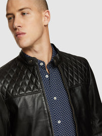 VINNIE LAMBSKIN LEATHER JACKET BLACK