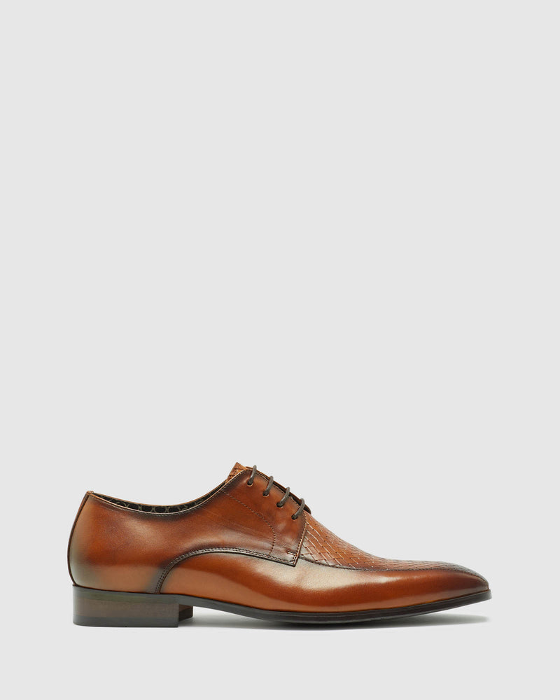 HEANEY WOVEN LEATHER DERBY SHOE COGNAC FIRENZE