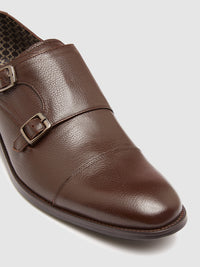 LEOPOLD LEATHER MONK SHOE MID BROWN PEBBLE
