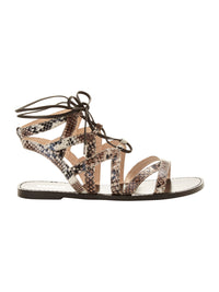 SYLVIA LEATHER SNAKEPRINT SANDALS