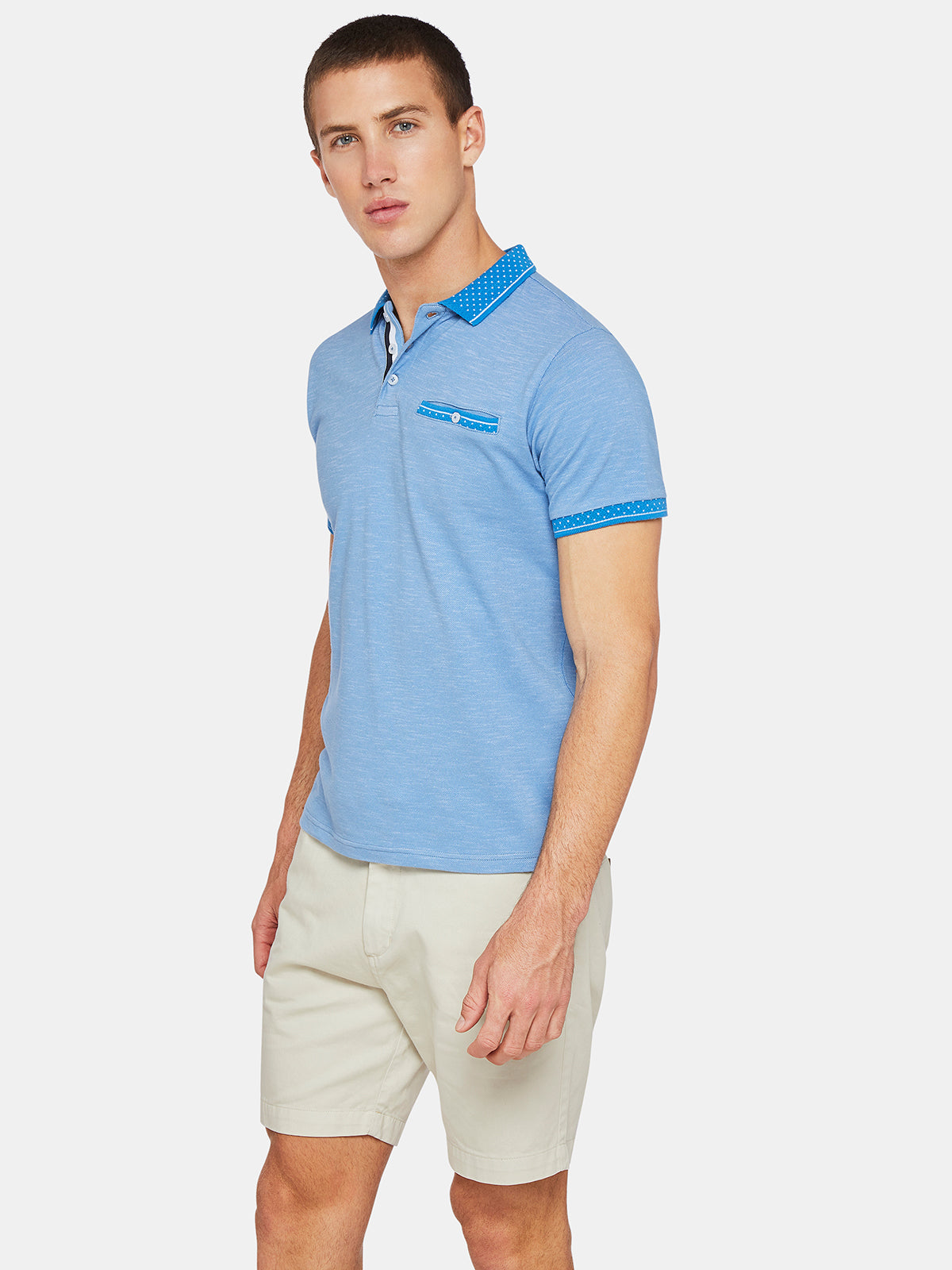 DANNY JACQUARD COLLAR POLO BLUE
