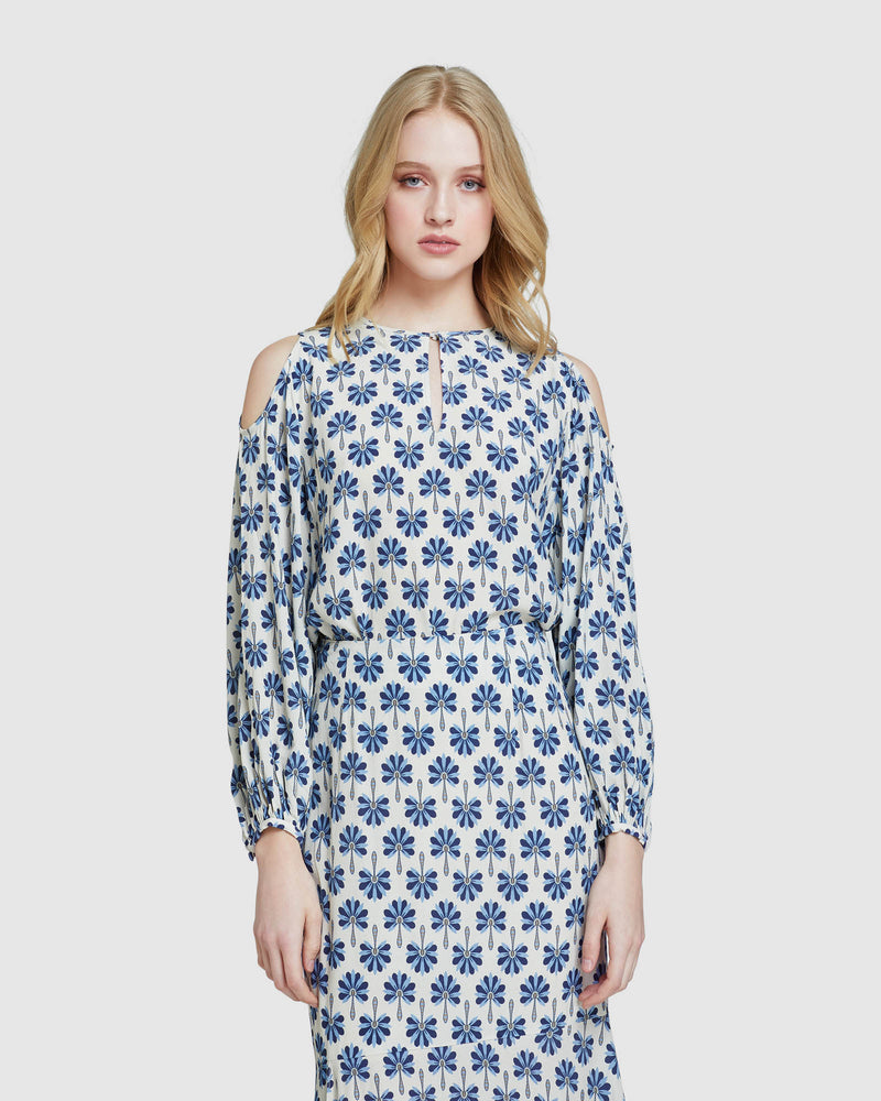 ADALINE COLD SHOULDER TOP BLUE