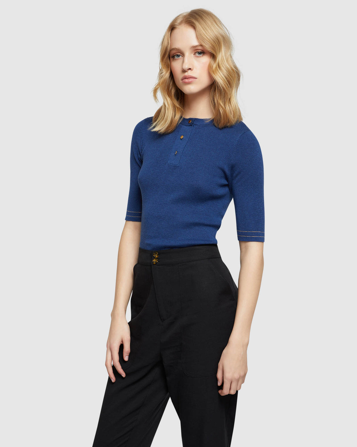 ISABEL PLACKET FRONT KNIT