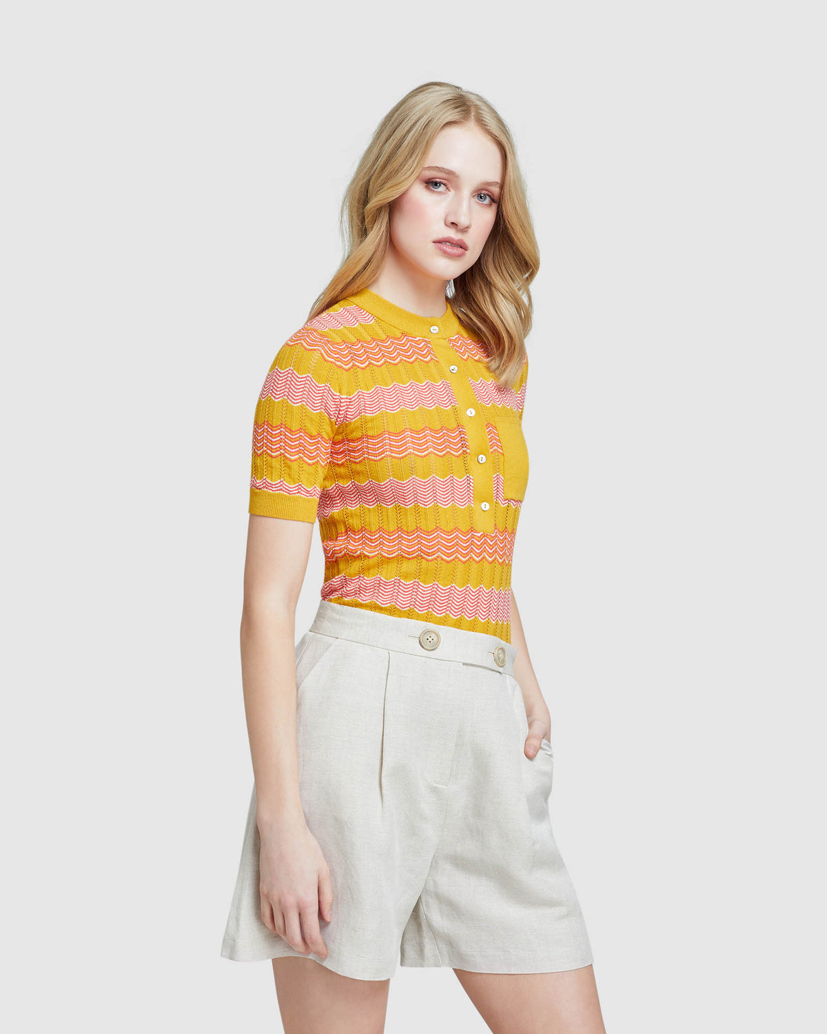 LARA POINTELLE COTTON KNIT MUSTARD/PINK