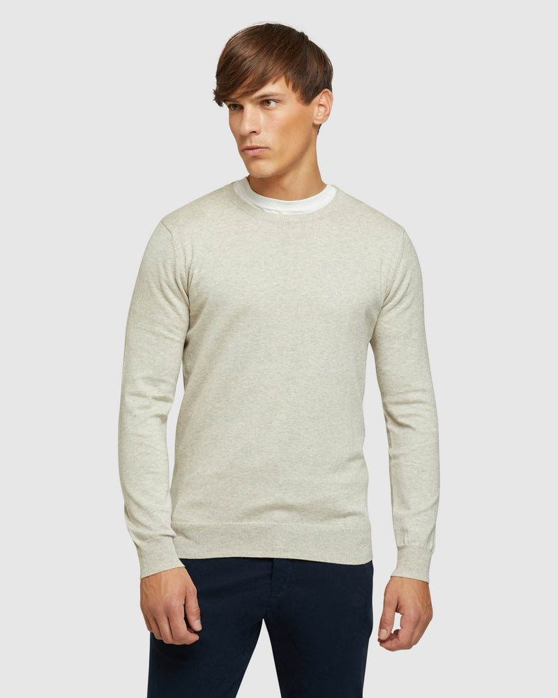 CREW NECK COTTON CASHMERE PULLOVER