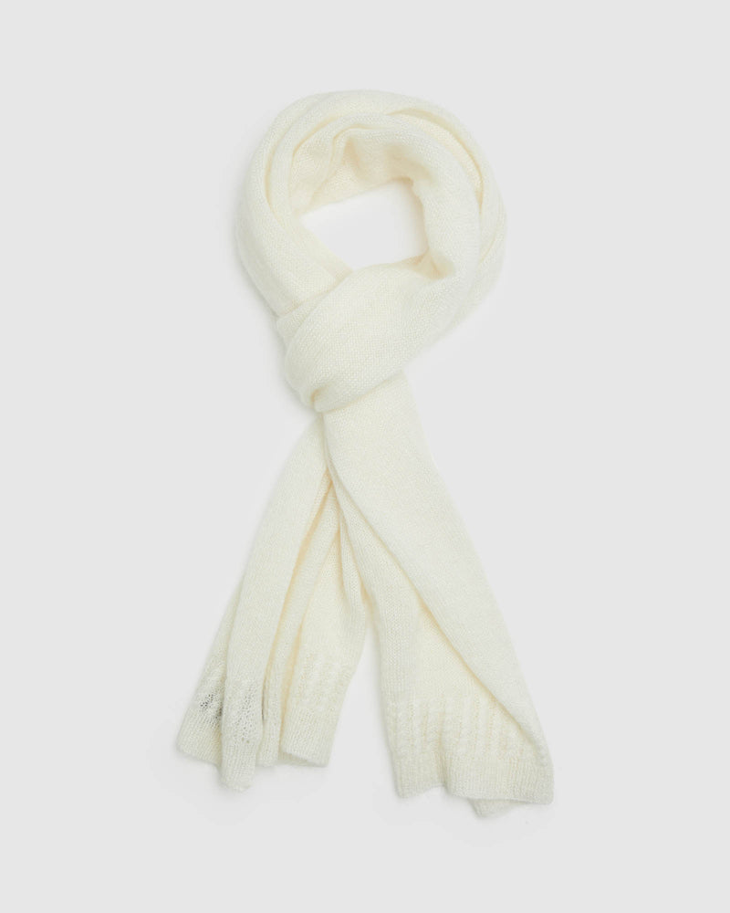 ADELINE MOHAIR CABLE SCARF WINTER WHITE