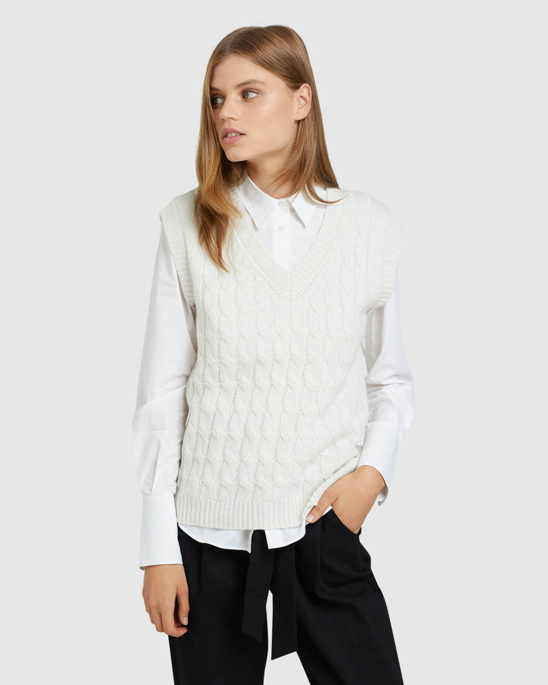 IMOGEN CABLE KNIT VEST WINTER WHITE