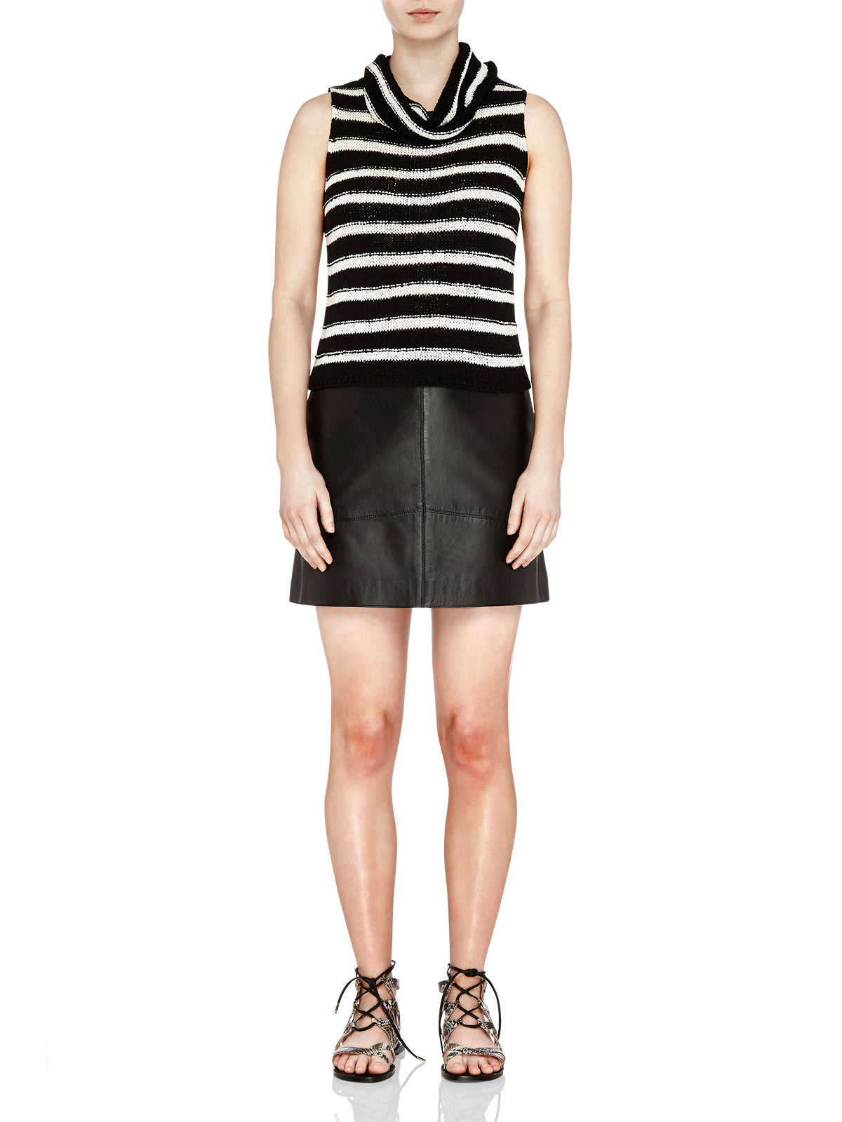 LUCY STRIPED KNIT BLK/WHT