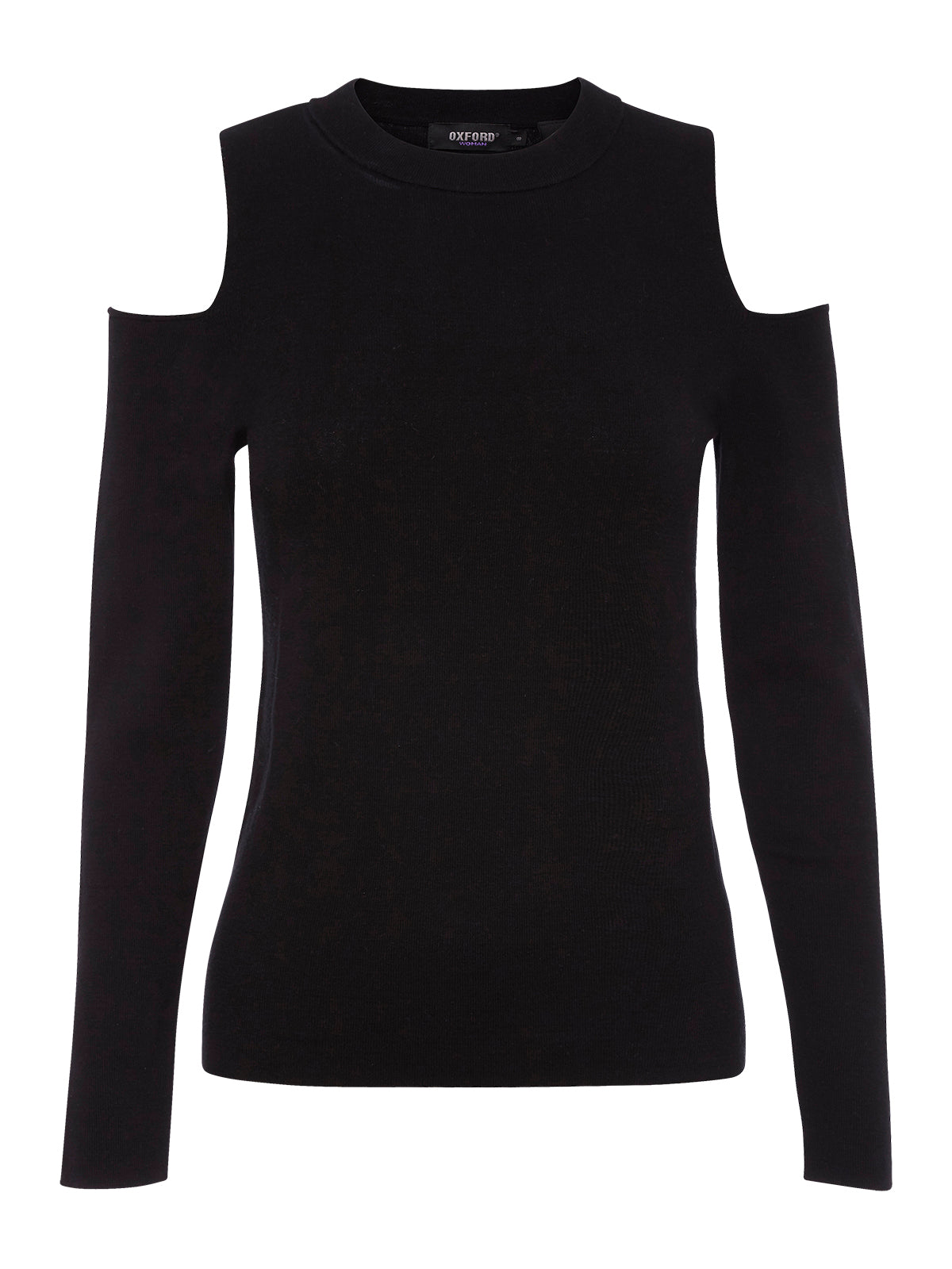 PAULINA COLD SHOULDER KNIT BLK