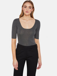 SIMONE METALLIC CREW NECK KNIT