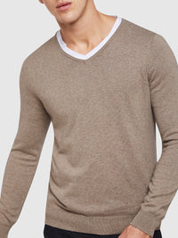 COTTON/CASHMERE V-NECK PULLOVER