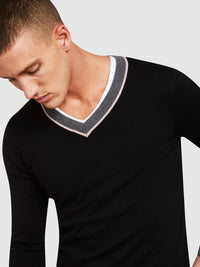 CEDRIC COTTON/CASHMERE VNECK KNIT