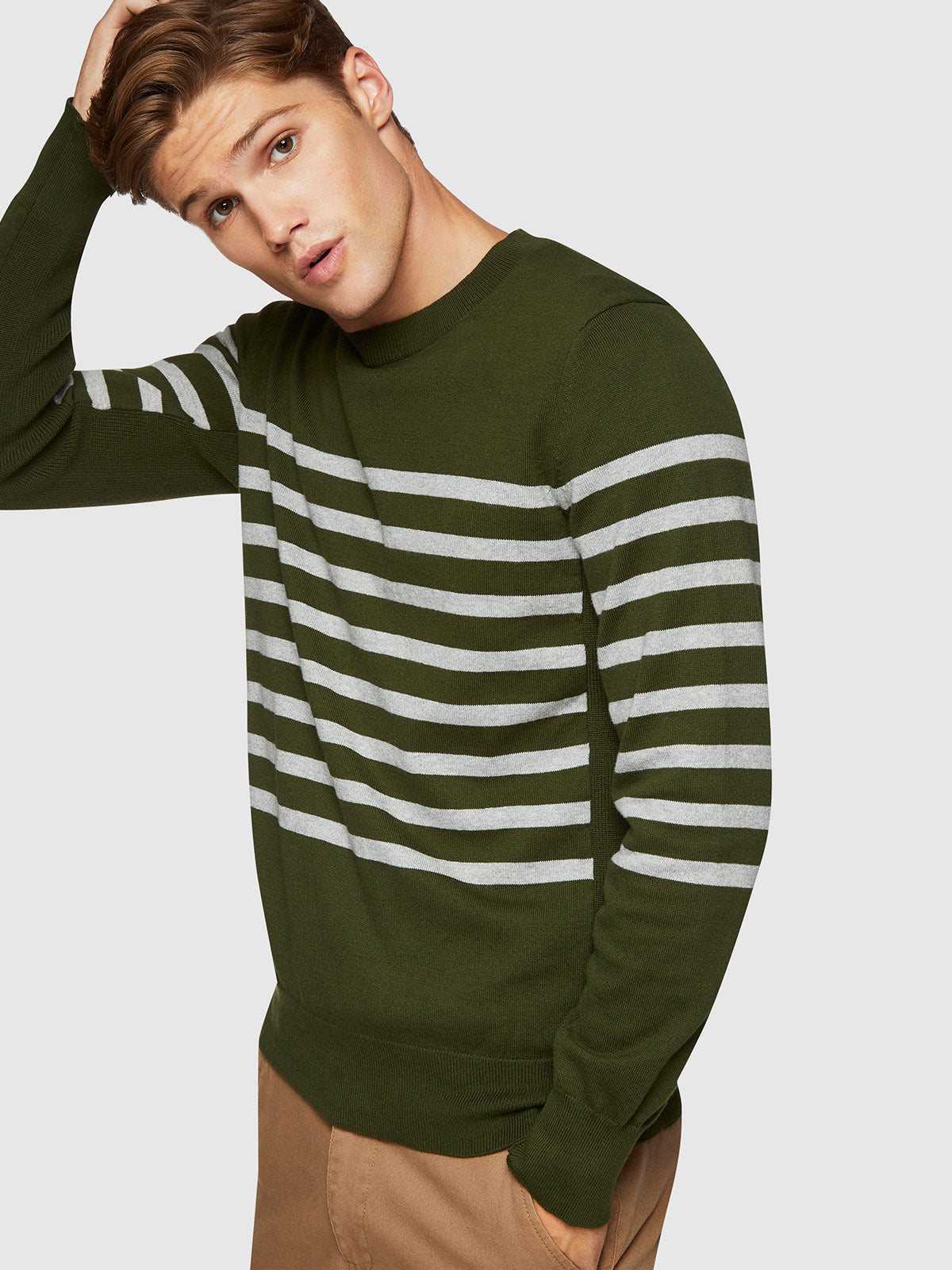 TOMMY STRIPE CREW NECK KNIT