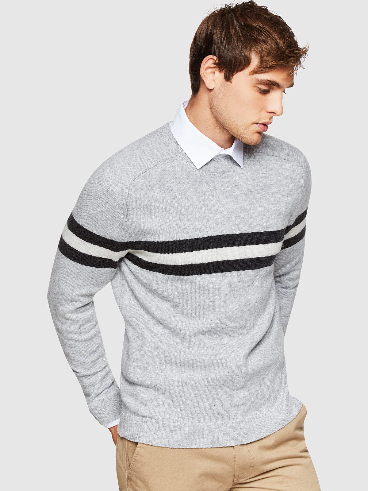RITCHIE STRIPE LAMBSWOOL CREWNECK