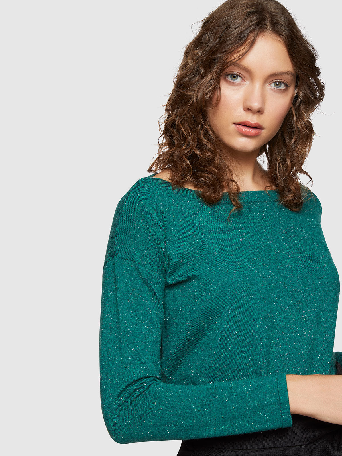 GIANNA METALLIC BOATNECK KNIT