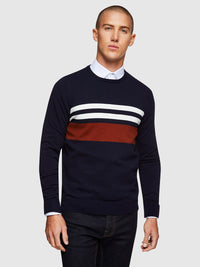 OTTO BLOCK STRIPE CREW NECK KNIT