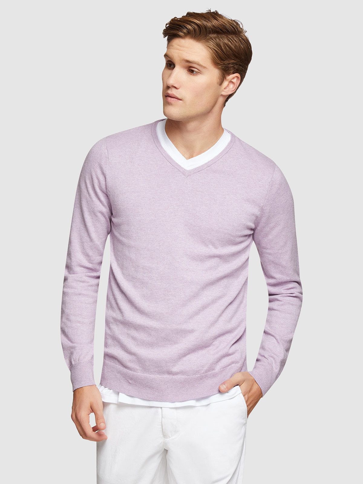 COTTON CASHMERE V-NECK PULLOVER