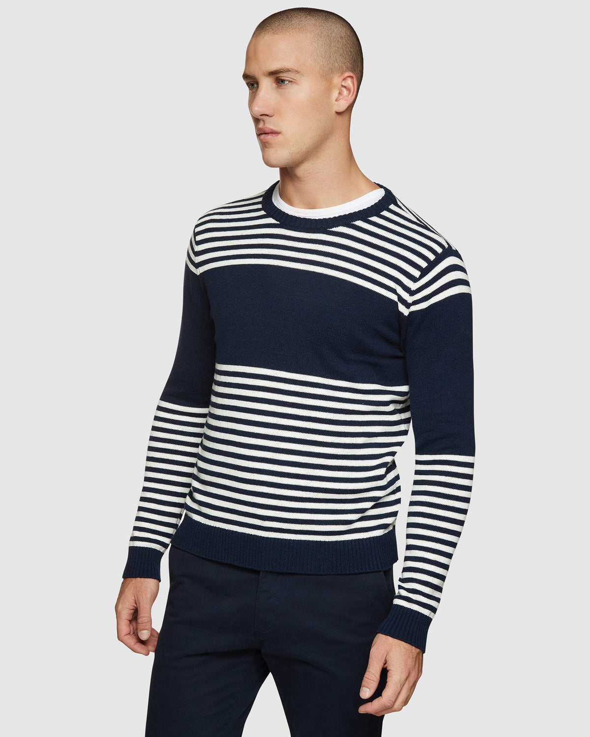 LUKA STRIPED CREW NECK PULLOVER