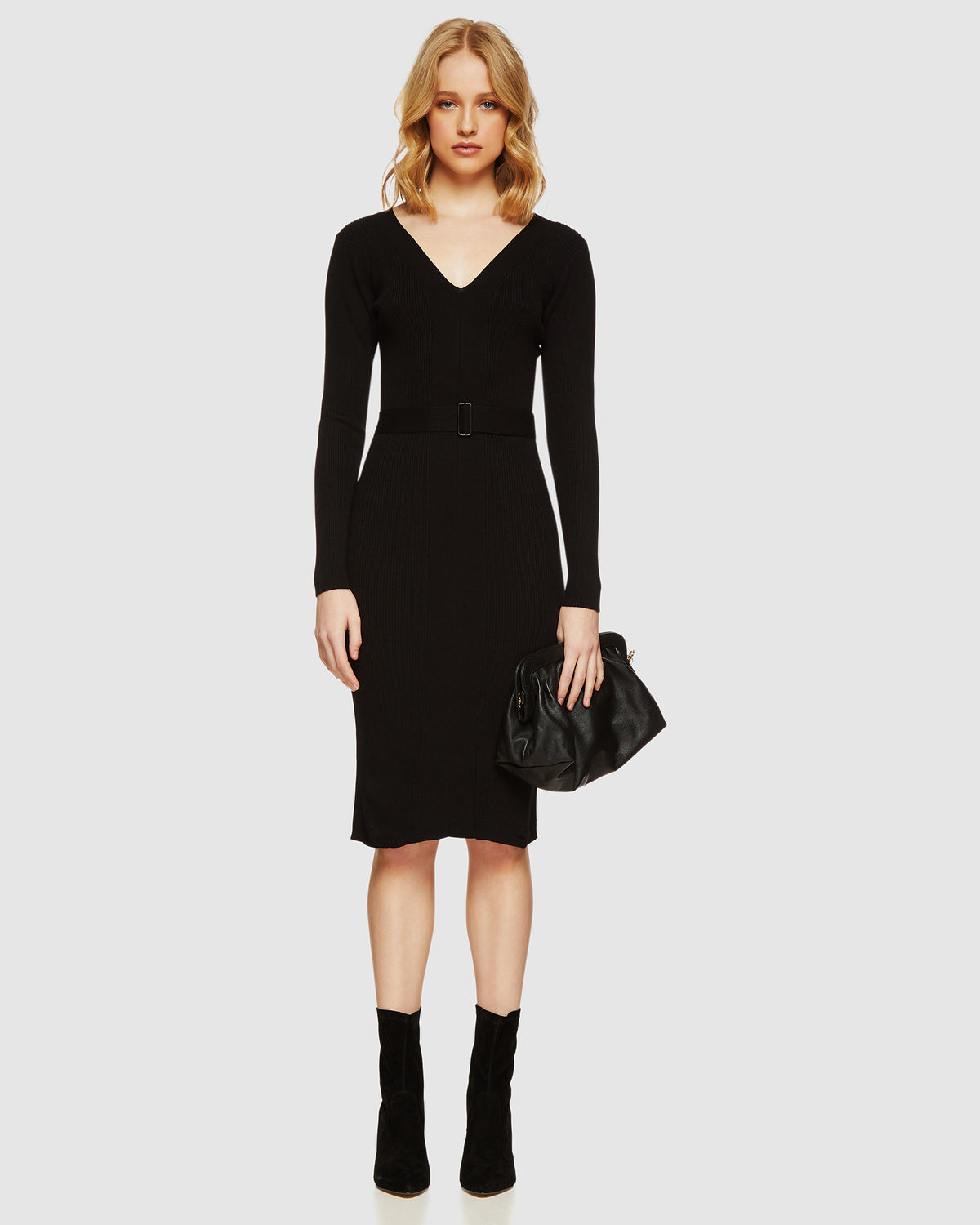 ANNA RIBBED KNITTED DRESS