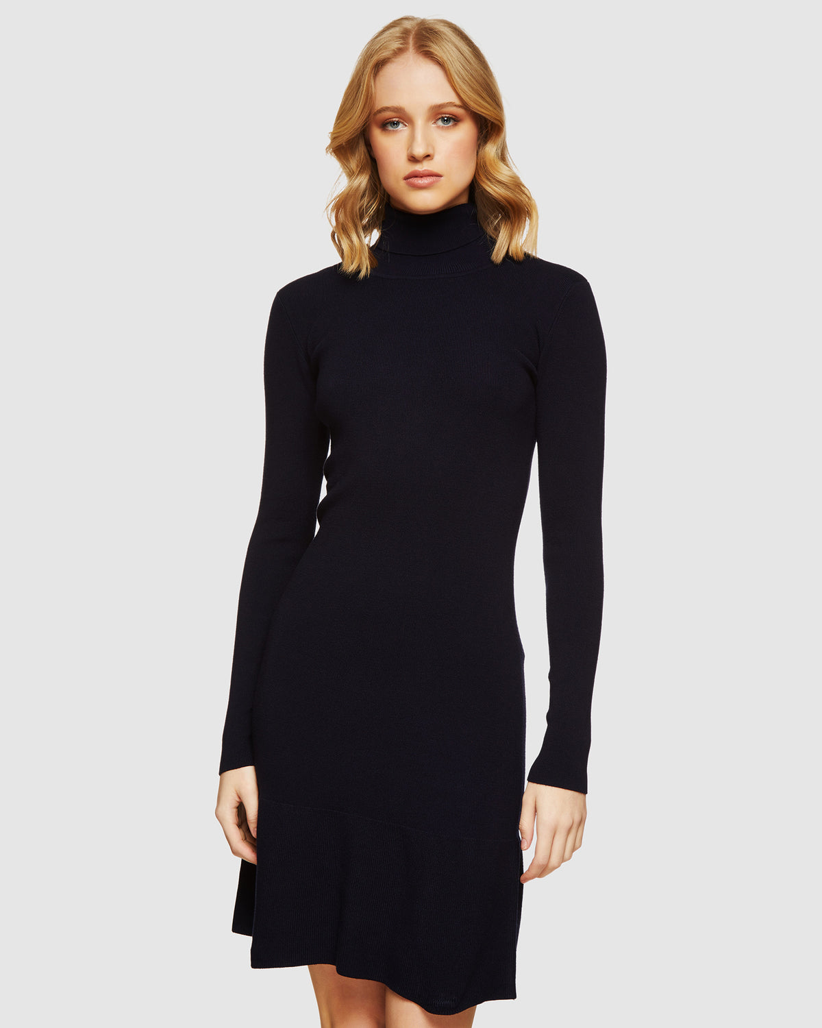 SCARLETTE KNITTED TURTLE NECK DRESS CHARCOAL