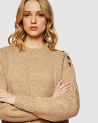 FABIENNE BUTTON SHOULDER KNIT