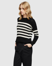ASTRID STRIPED KNIT BLACK/IVORY