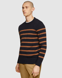 BEN STRIPED CREW NECK KNIT NAVY