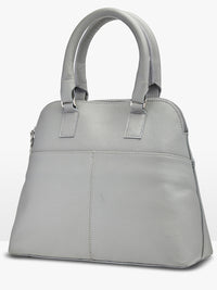STACEY ZIP TOP LEATHER BAG LT GRY