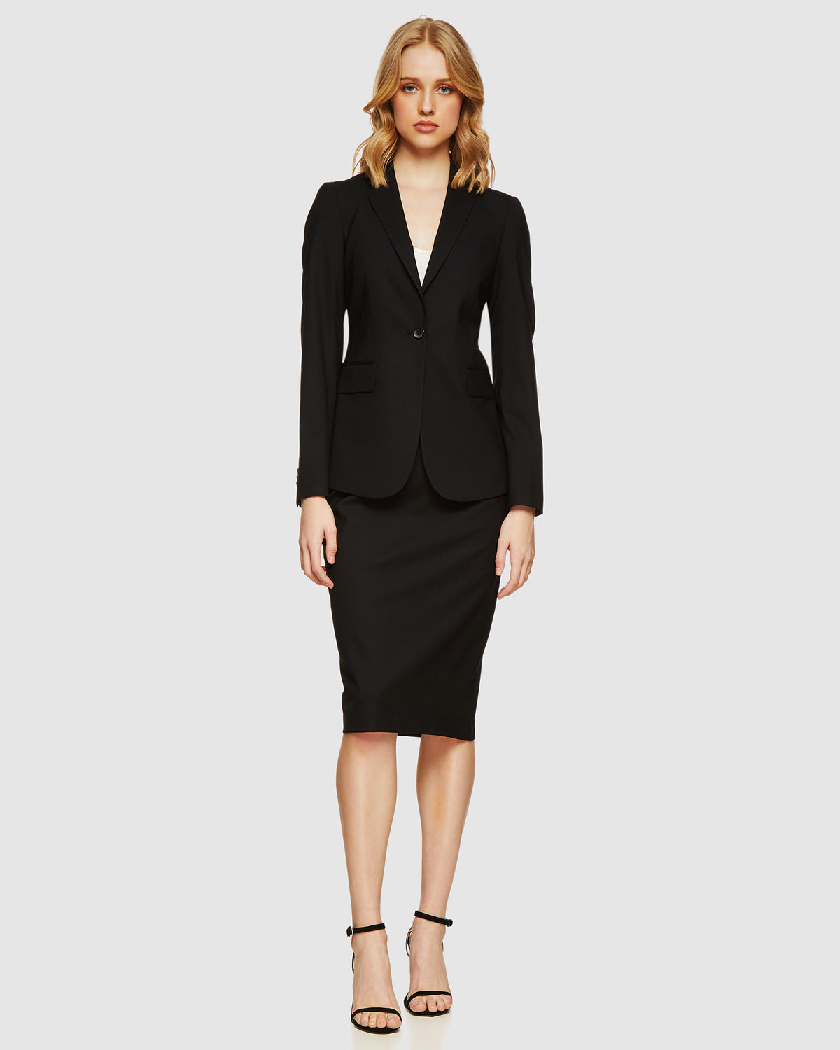 PEGGY WOOL SUIT SKIRT BLACK