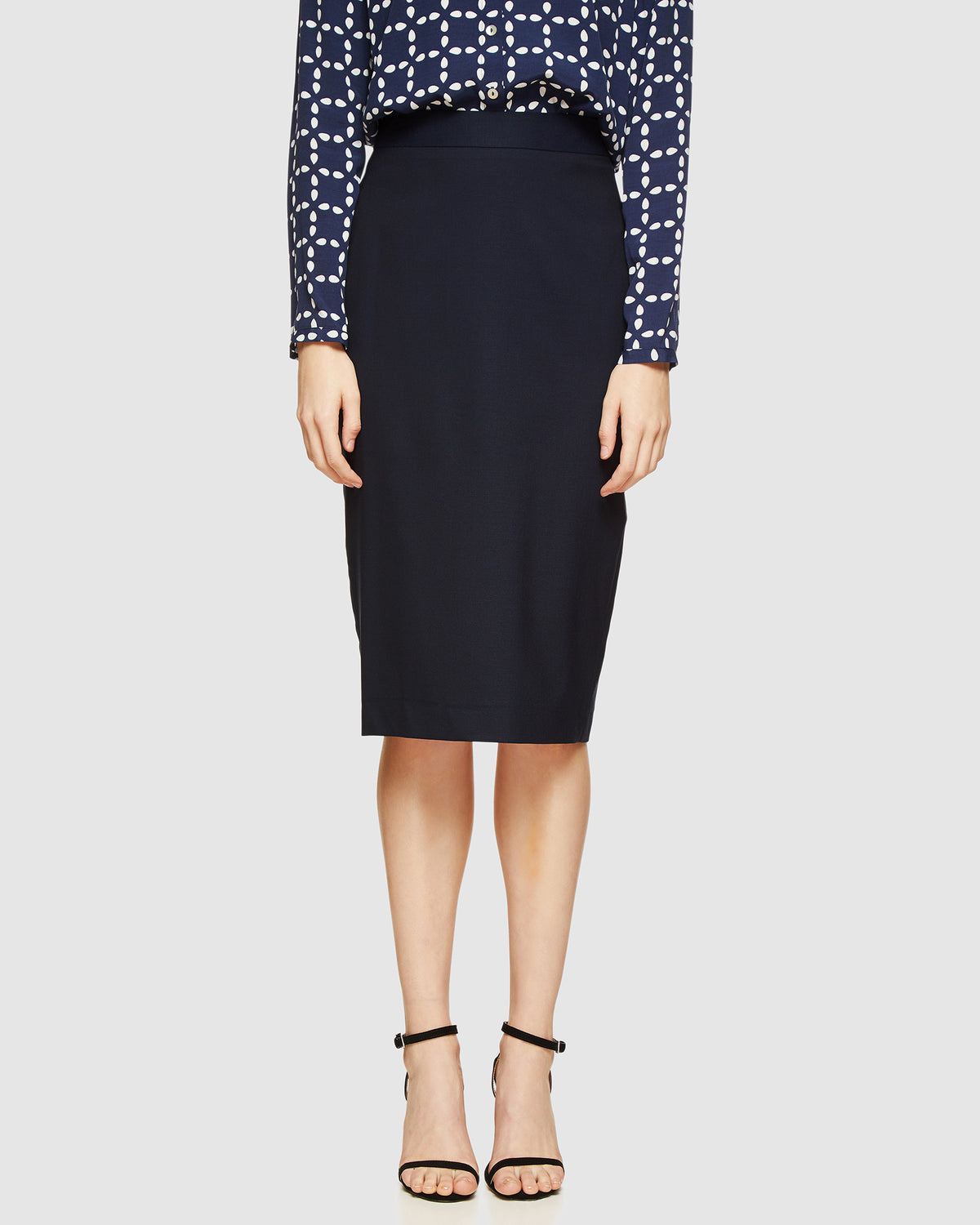 PEGGY WOOL SUIT SKIRT NAVY