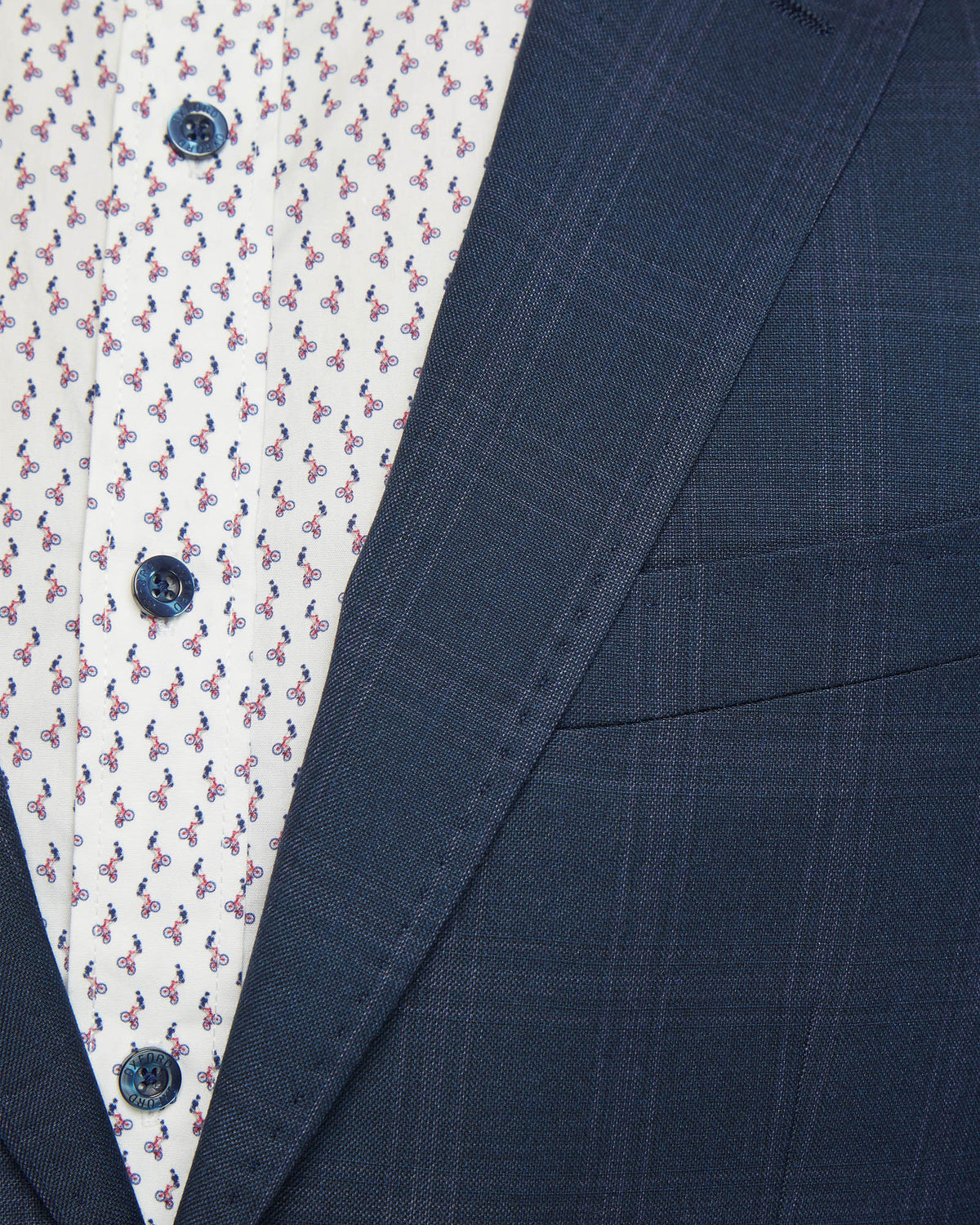 BYRON ECO CHECKED SUIT JACKET NAVY CHECK