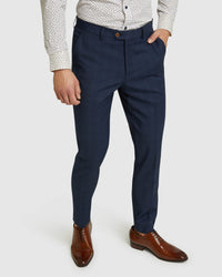 BYRON ECO CHECKED SUIT TROUSERS NAVY CHECK