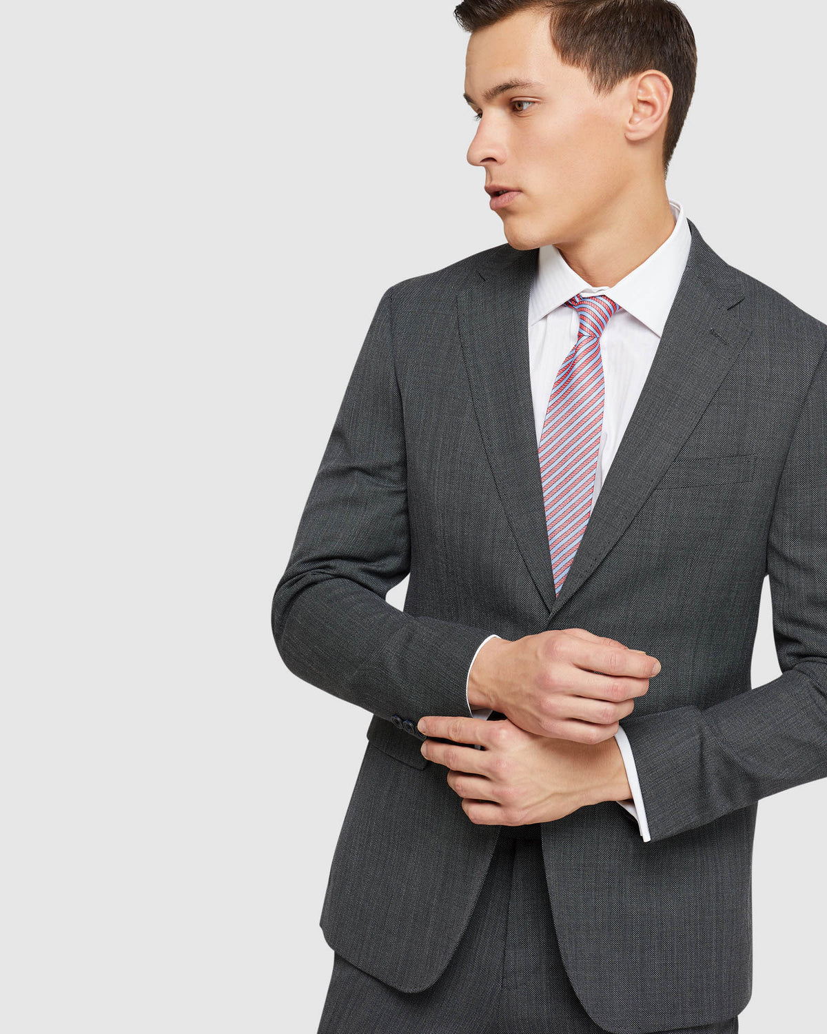 BYRON WOOL STRETCH SUIT JACKET CHARCOAL