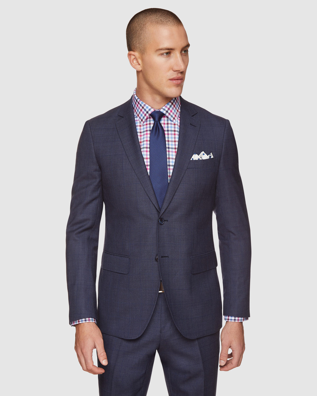 AUDEN WOOL CHECKED SUIT SET NAVY