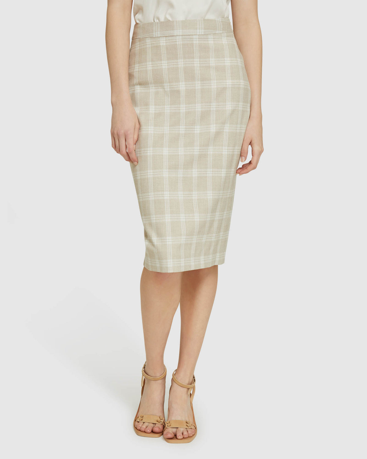 PEGGY CHECK SUIT SKIRT SAND