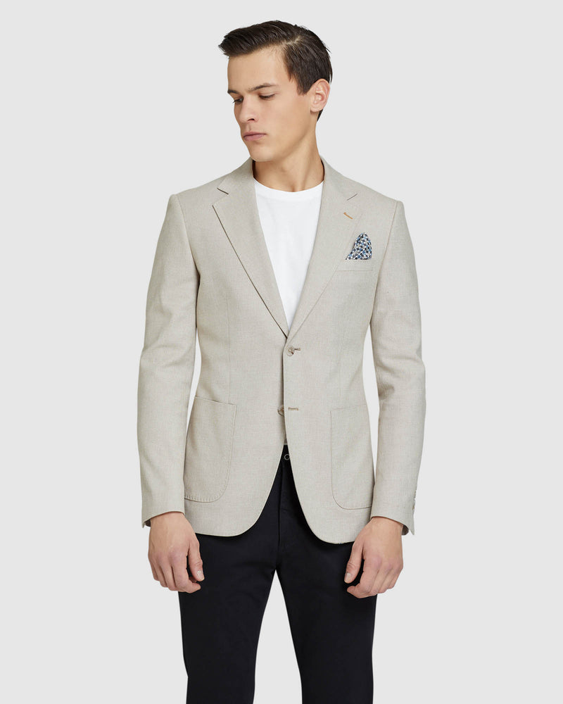 BLAKE COTTON STRETCH TWILL BLAZER NATURAL