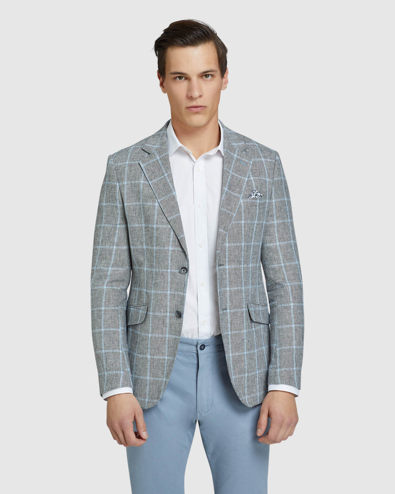 BLAKE LINEN BLEND CHECKED BLAZER GREY/BLUE