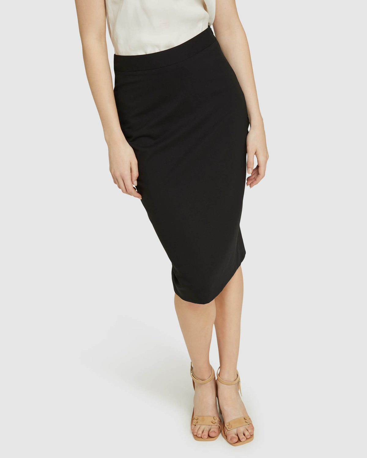 PEGGY BLK WOOL STRETCH SUIT SKIRT BLACK