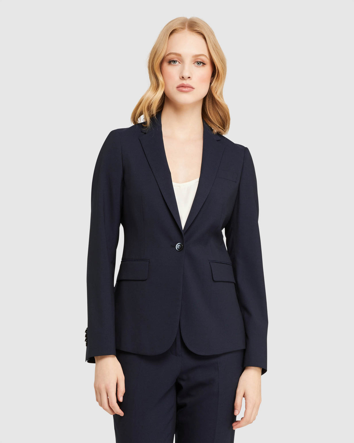 ALEXA WOOL STRETCH SUIT JACKET NAVY