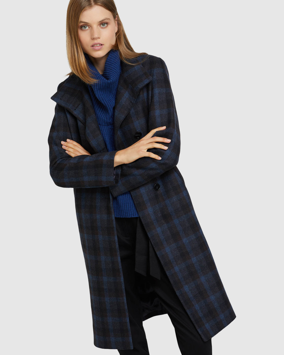OLIVIA CHECKED WOOL BLEND COAT BLUE/CHARCOAL
