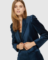 LUCY CROP VELVET JACKET PETROL BLUE