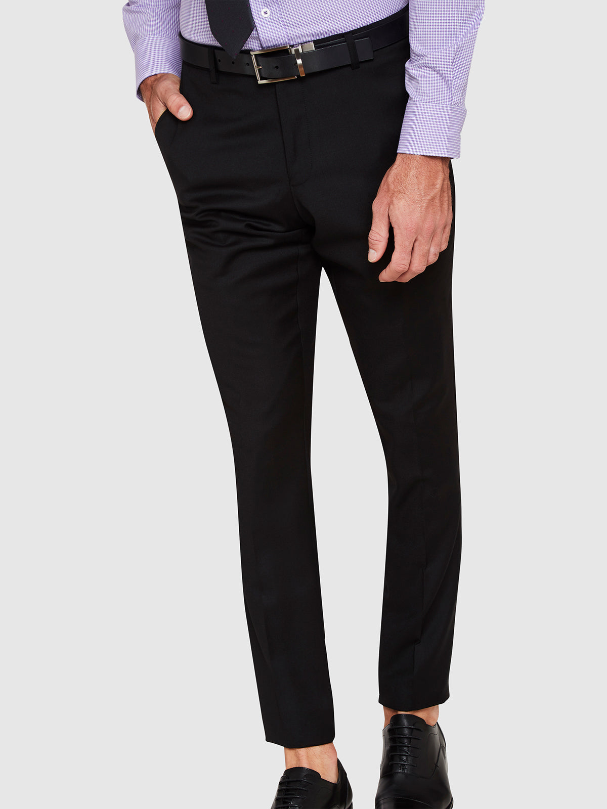 NEW HOPKINS WOOL SUIT TROUSERS BLACK