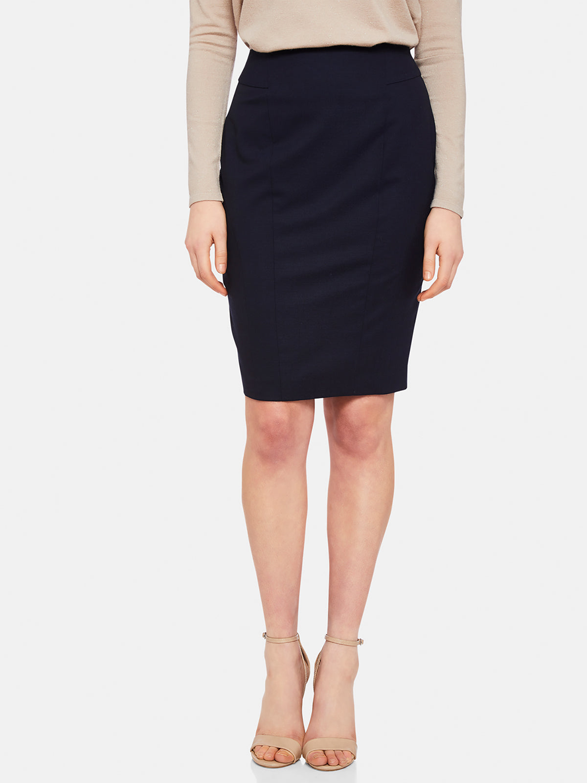 MONROE WOOL STRETCH SUIT SKIRT NAVY