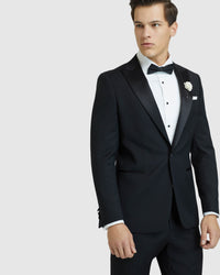 PEAK LAPEL DINNER SUIT JACKET BLACK